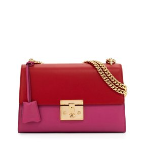Item - Padloch Chain Red/ Fuchsia Leather Shoulder Bag
