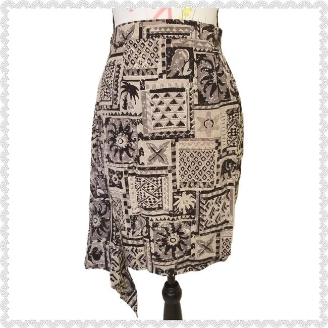 Item - Black Vintage Silk Tribal Aztec Wrap 4p Skirt Size Petite 4 (S)