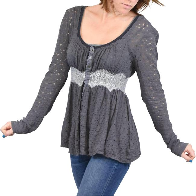 Item - Gray Take Me To Tea Tunic S Button-down Top Size 4 (S)