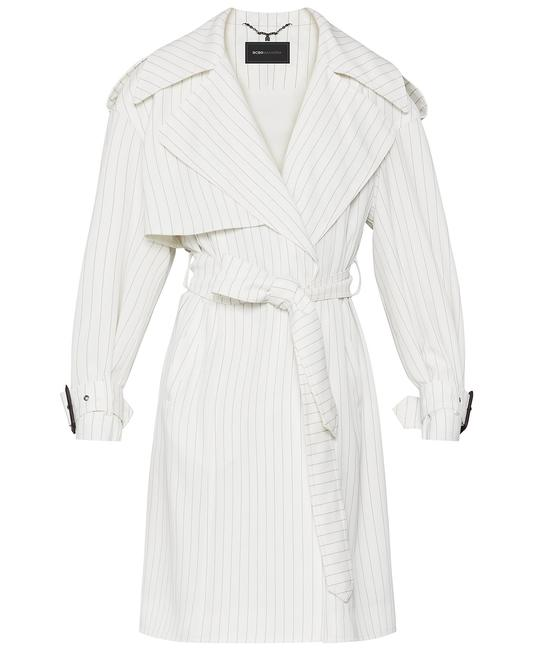 Item - White Pinstriped Belted Coat Size 6 (S)