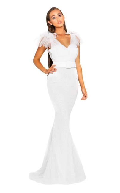 Item - White Evening Gown with Lace Accent (Ps2017) Long Formal Dress Size 10 (M)