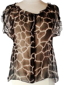 Elie Tahari Sheer Animal Print Silk Top Brown