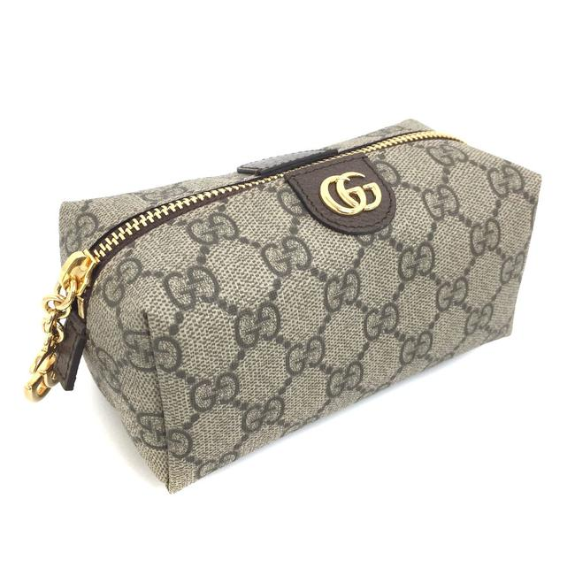 Item - Makeup Pouch Gg Supreme Offdia 548394 Leather Gold Hardware Ladies Brown Pvc Clutch