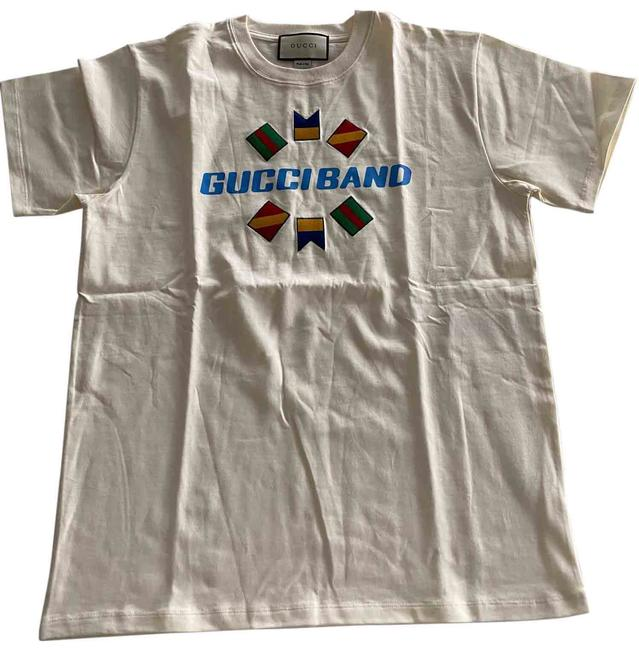 Item - Cream Band Flag Embroidered Tee Shirt Size 8 (M)