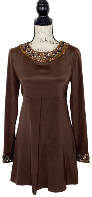 Item - Brown Empire Beaded Mini Short Night Out Dress Size 0 (XS)