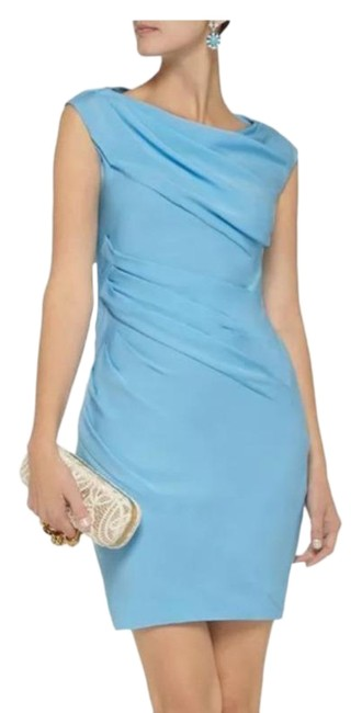 Item - Blue Ameerah Long Cornflower Stretch Silk Cocktail Dress Size 2 (XS)