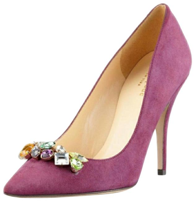 Item - Pink Jeweled Suede Pointed-toe Pump Amethyst Formal Shoes Size US 8.5 Regular (M, B)