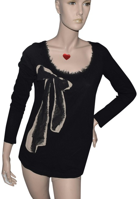 Item - Black Long Sleeve Scoop Neck Medium Blouse Size Petite 10 (M)