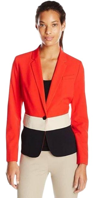 Item - Red/White/Black One Button Color Jacket By Blazer Size 12 (L)