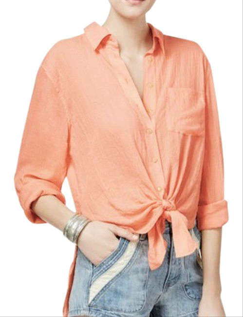 Item - Peach Coral Orange High Low Tie Front Shirt Button-down Top Size 10 (M)