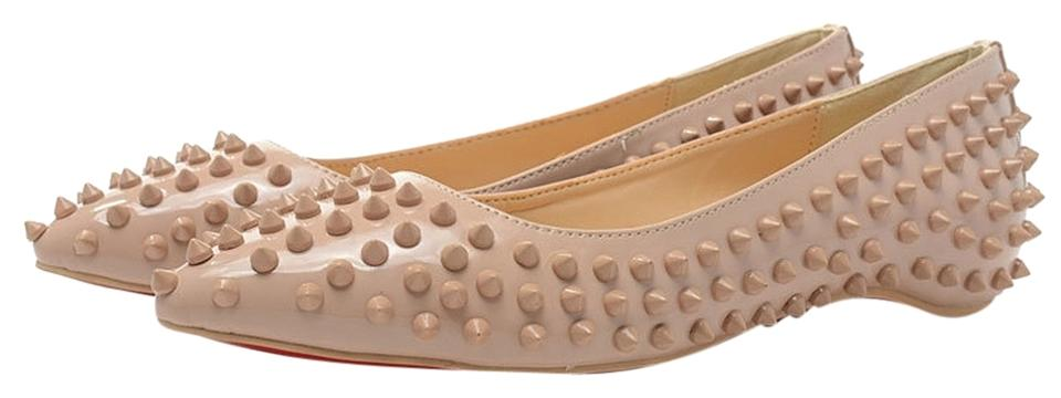 421d25a03497 Christian Louboutin Beige Pigalle Spikes Patent-leather Point-toe Flats.  Size  US 8 Regular (M ...