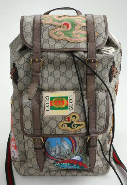 Item - Brown Backpack Tiger Ufo Dragon Applique Men's Jewelry/Accessory