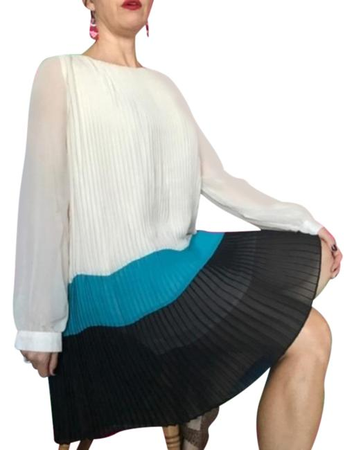 Item - Blue Black Pleated Color Long Sleeve Pleated Short Night Out Dress Size 12 (L)