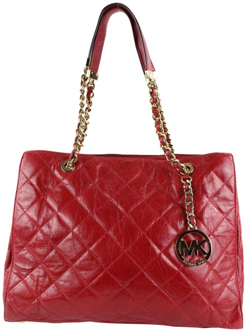 Item - Bag Quilted Mk Charm Susannah Chain Shopper 19mk1229 Red Leather Tote