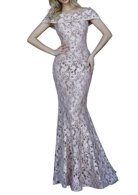 Item - Taupe 1814 Lace Off The Shoulder Fitted Gown Long Formal Dress Size 10 (M)