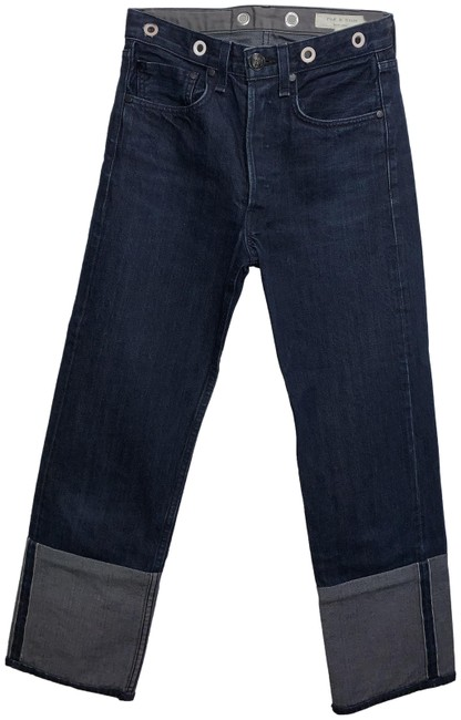 Item - Dark Blue Rinse Contrast with Hide Insert In The Back Boot Cut Jeans Size 24 (0, XS)