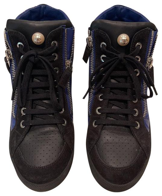 Chanel Black with Navy Blue Sneakers Size US 5.5 Regular (M, B) Chanel Black with Navy Blue Sneakers Size US 5.5 Regular (M, B) Image 1