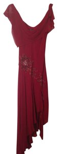 BCBGMAXAZRIA Silk Embroidered Embellished Hi Lo Dress