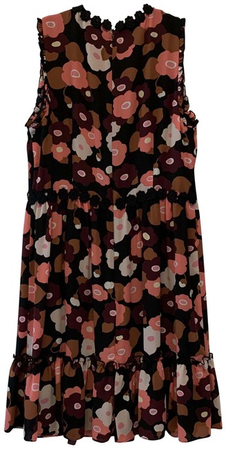 Item - Black Multi Floral Mid-length Short Casual Dress Size 10 (M)