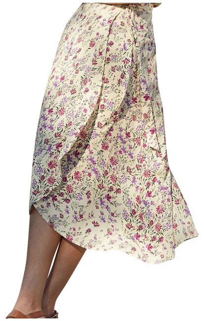Item - Yellow Floral Wrap Skirt Size 4 (S, 27)