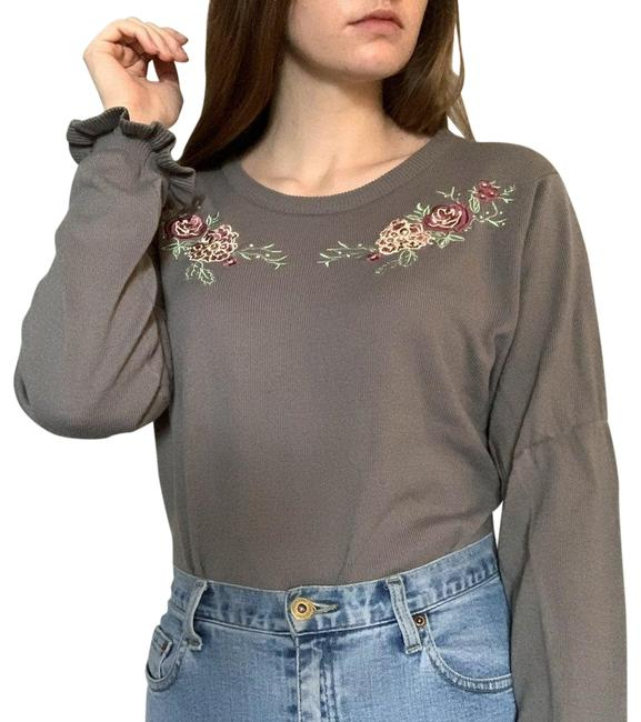 Item - Vintage Floral Embroidered Grey Sweater