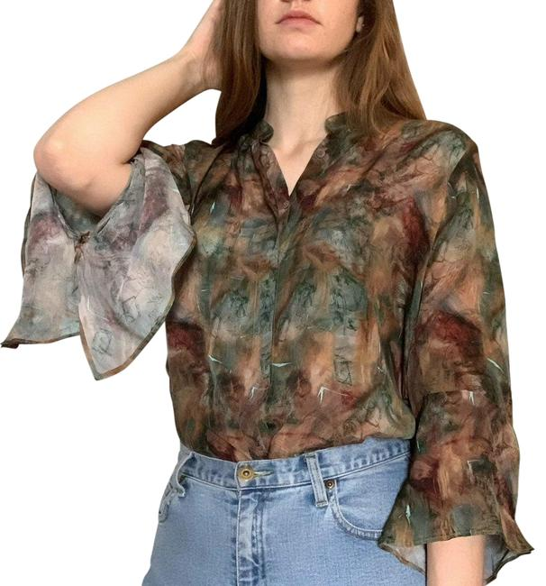 Item - Brown Apny Green and with Frilly Sleeves Blouse Size 12 (L)