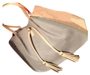 Alyssa Tote in Powder Blue/Cream or Tan/Cream