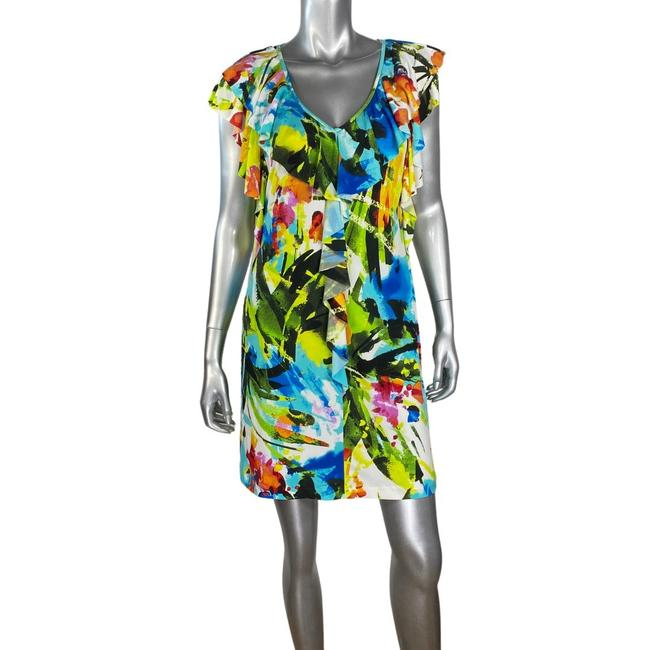 Item - White Print Ruffle Multi Short Casual Dress Size 10 (M)