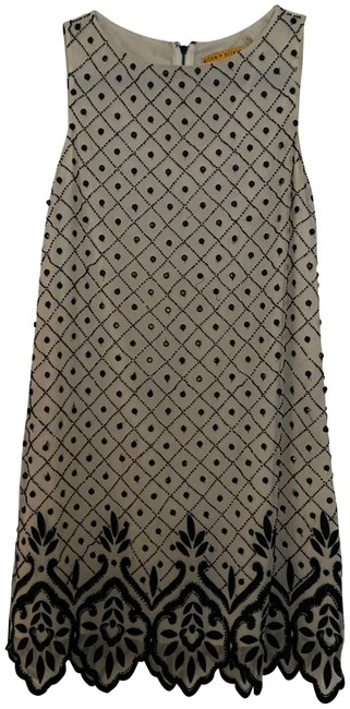 Item - Cream & Black And Sequin Embellished Silk Mini Short Cocktail Dress Size 2 (XS)