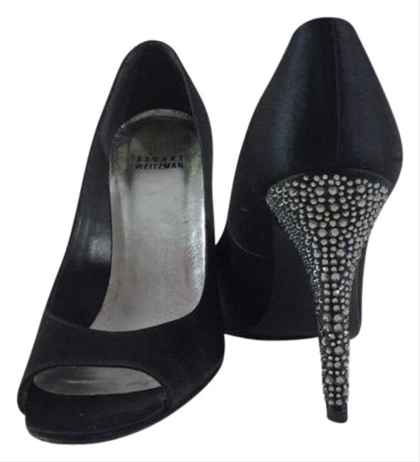 Item - Black Silver Satin Peep Toe Rhinestone Heels Formal Shoes Size US 7 Regular (M, B)