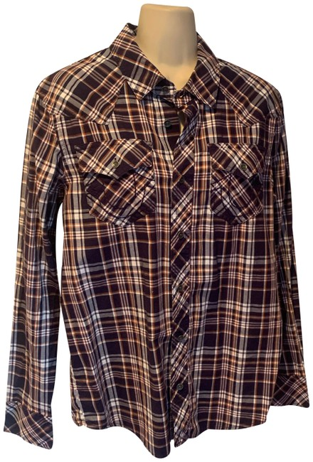 Item - Blue White and Brown Western Button Up Blouse Size 4 (S)
