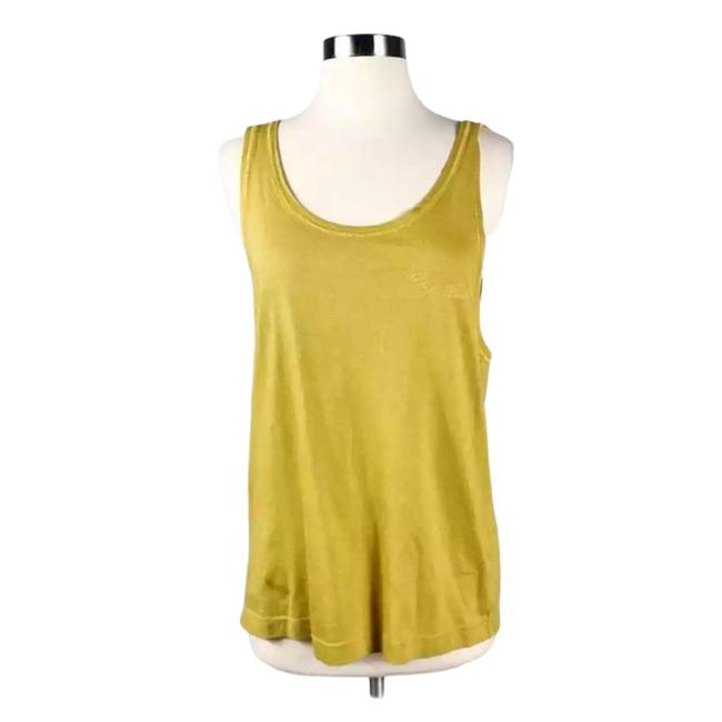 Item - Yellow Italian Relaxed Cotton Mustard Scoop Sm Tank Top/Cami Size 6 (S)