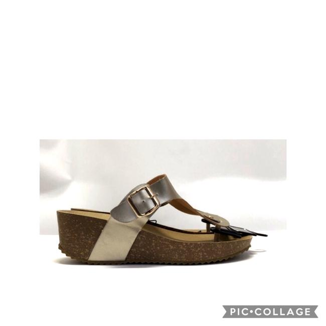 Item - Metallic Gold Cork and Leather Strap Sandals Size US 10 Regular (M, B)