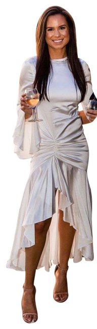 Item - White Monique Ruched Stretch Silk-satin Gown Mid-length Cocktail Dress Size 8 (M)