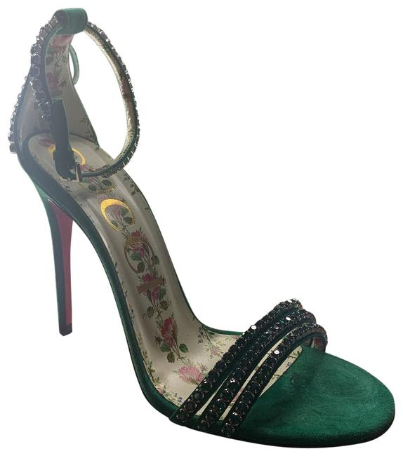 Item - Green Suede Heeled Sandals Formal Shoes Size EU 38 (Approx. US 8) Regular (M, B)