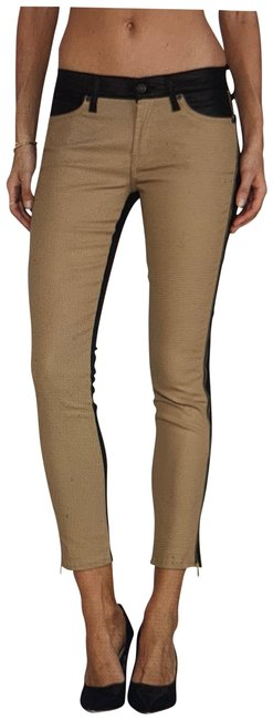 Item - Black and Tan Coated The Cropped Skinny Jeans Size 31 (6, M)
