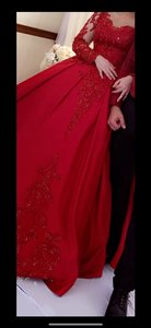 Custom Made Red Silk Casual Wedding Dress Size OS (one size)