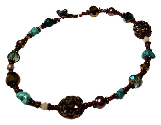 Other New Anklet Turquoise Gemstone Copper Brown 10 Inch J883