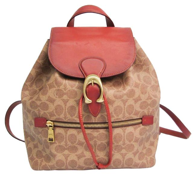Item - Signature Evey 68563 Women's Beige / Brown / Red Brown Leather / Pvc Backpack