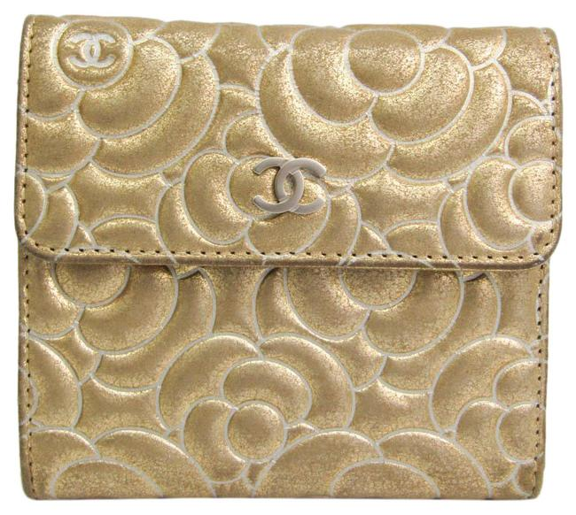 Item - Gold Camellia Women's Leather (Tri-fold) Wallet