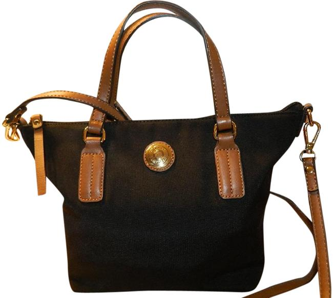 Item - Neat Black Convertible Tote Black-saddle-gold Canvas/Faux Leather Cross Body Bag