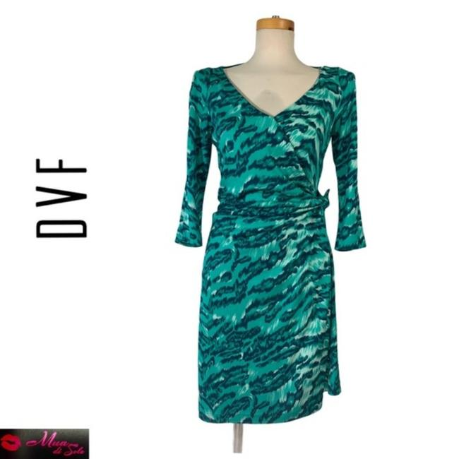Item - Blue and Green Rn84177 Mid-length Cocktail Dress Size 4 (S)