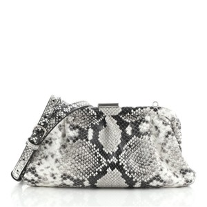 Item - Clutch XS Cloud Python Embossed Black Gray Neutral Leather Cross Body Bag
