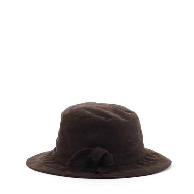 Item - Brown Bow Cloche Suede Hat