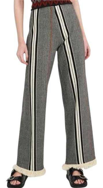Item - Grey Multi Cotton Blend Striped Fringe Hem Pants Size 4 (S, 27)