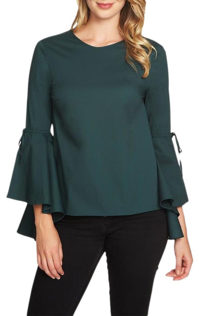 Item - Green Cascade Sleeve Blouse Size 6 (S)
