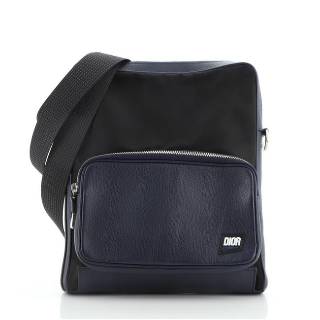 Item - Homme with Leather Blue and Black Coated Canvas Messenger Bag