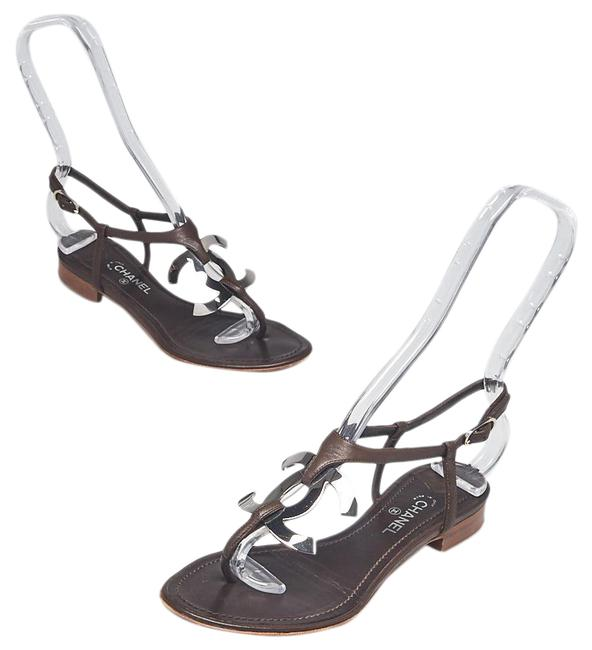 Item - Brown Leather Silver-tone Interlocking Cc Sandals Size EU 35 (Approx. US 5) Wide (C, D)