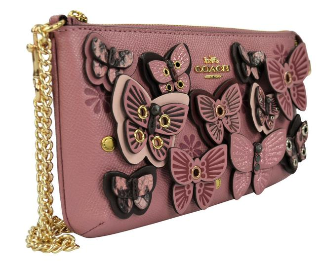 Item - W Applique Butterfly Clutster Wallet Gold Chain Pink Leather Wristlet