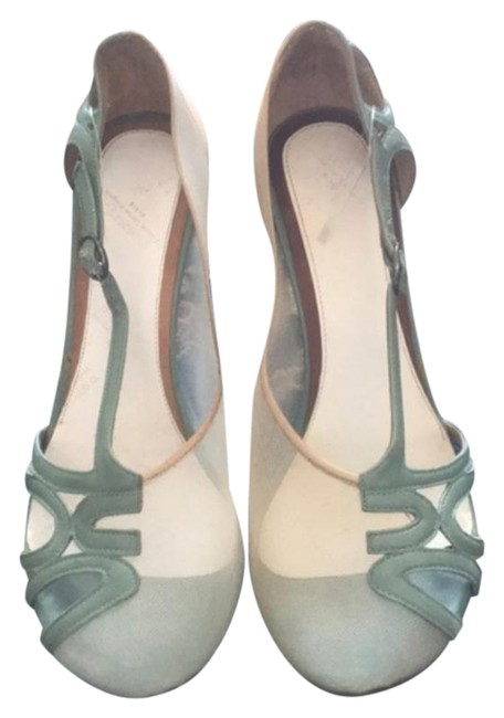 Item - Green Cream Mesh Leather Heels Pumps Size EU 37 (Approx. US 7) Regular (M, B)